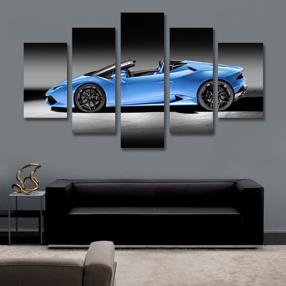 5 Panel Canvas Art Blue Sports Car Picture Painting for Living Room Wall Art Canvas Prints Artwork Unframed