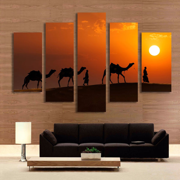 5 Panel Walking on Desert Sunset Landscape Painting Wall Art Canvas Prints Wall Picture Art for living Room No Frame