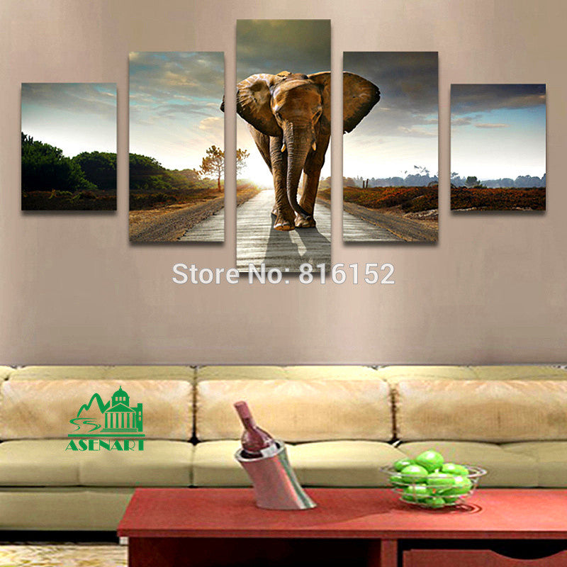 5 Panels Giant Elephant Painting Oil Canvas Print Unframed Wall Art Picture Home Living Room Wall Decor Modern Canvas Artwork