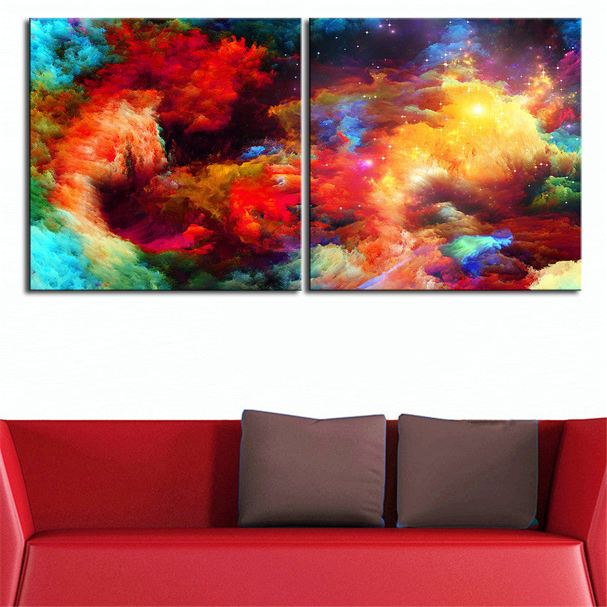 2pcs NO FRAME Printed Colorful ABSTRACT Oil Painting Canvas Prints Wall For Living Room Decorations
