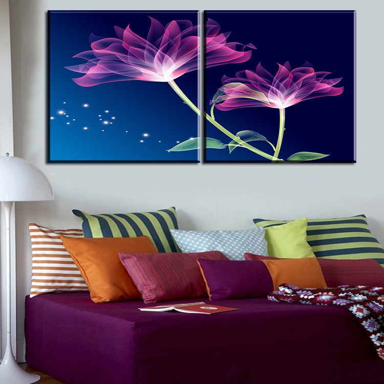 2 Pcs Best Purple Flower Home Decor Canvas Wall Art Picture Living Room  Canvas Print Modern