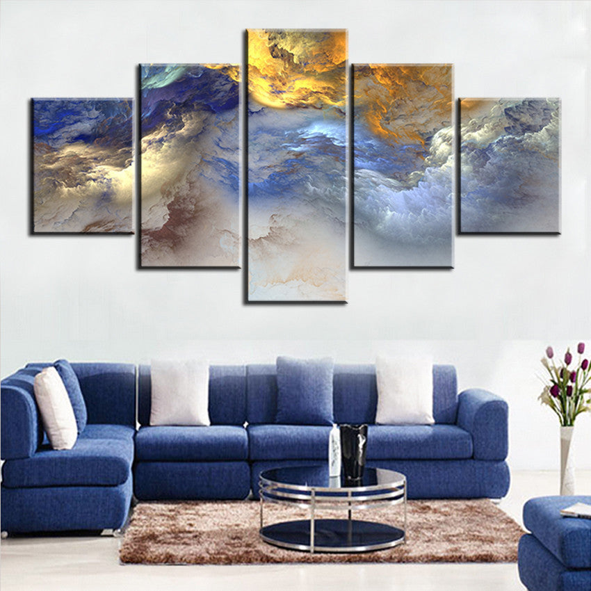 5 Pc Set Blue Yellow Grey Abstract Cloud No Frame Oil Painting Canvas Ellaseal