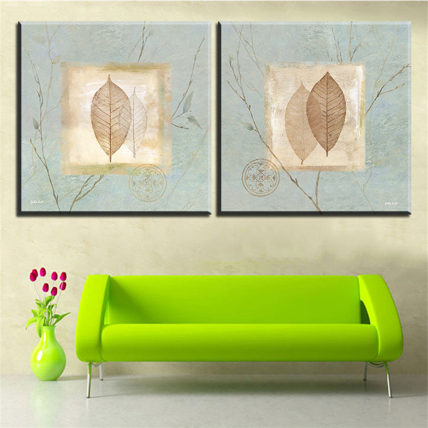 Large size 2pcs Print Oil Painting Wall leaf painting  Decorative Wall Art Picture For Living Room paintng No Frame