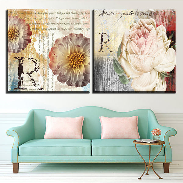 Large size 2pcs Print Oil Painting Wall letters flower painting  Decorative Wall Art Picture For Living Room paintng No Frame