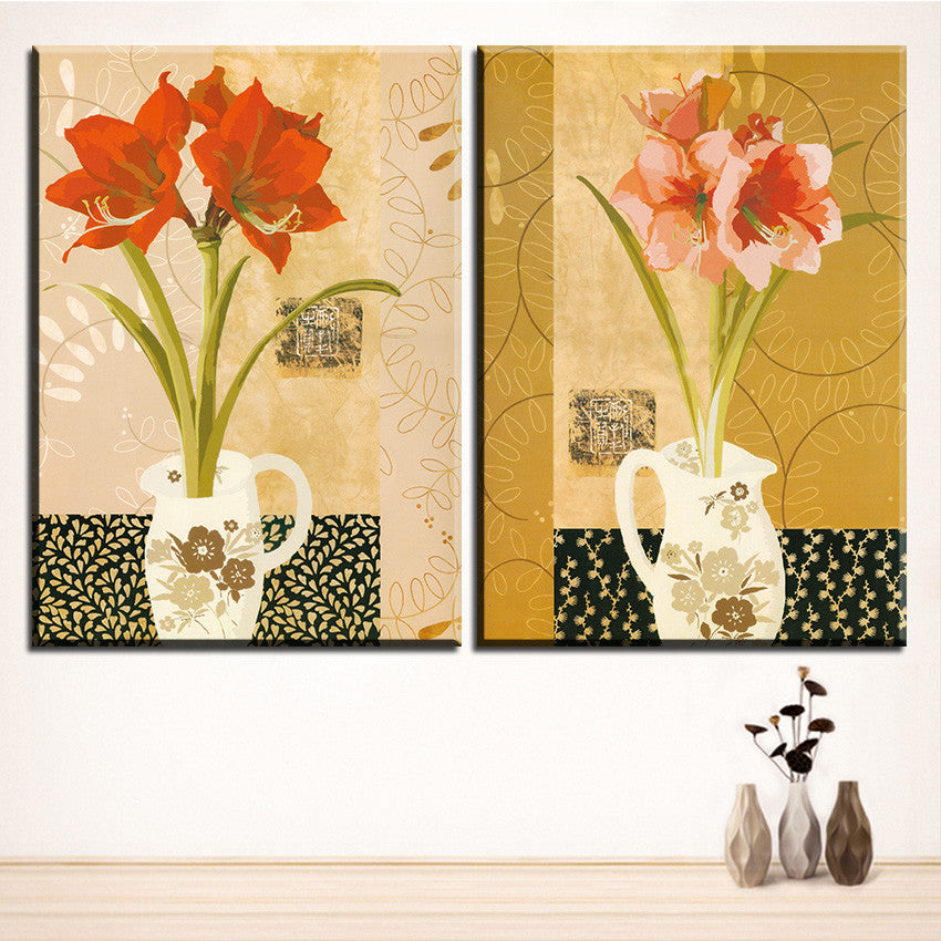 Large size 2pcs Print Oil Painting Wall vase flower painting  Decorative Wall Art Picture For Living Room paintng No Frame