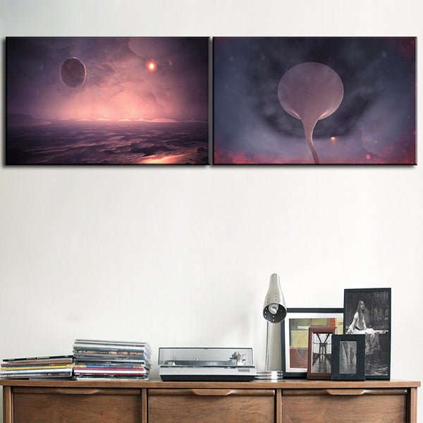 2 pcs morden  Galaxy art office Decor Canvas Wall Art Picture Living Room Canvas Print Modern Painting Large Canvas Art Cheap