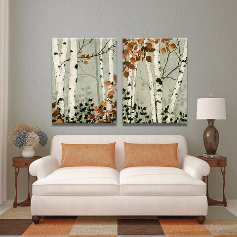 2PIECES MODERN ABSTRACT HUGE WALL ART OIL PAINTING ON CANVAS PRINT FOR BRICH TREE No FRAME