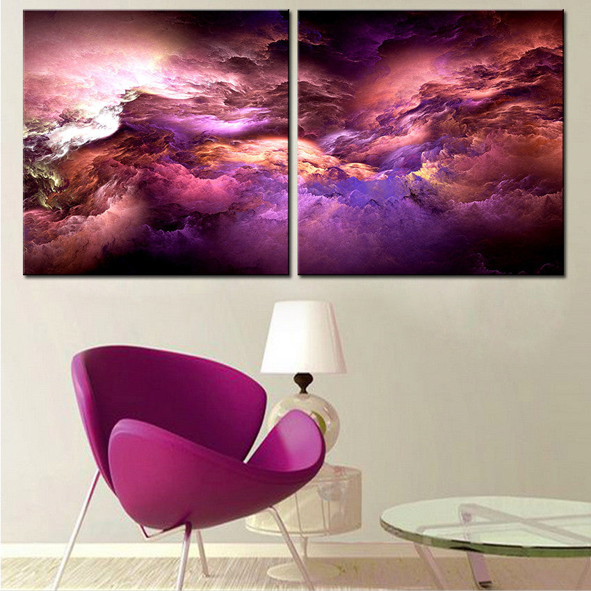 2pcs set NO FRAME Printed colorful Cloud Oil Painting Canvas Prints Wall Painting For Living Room Decorations wall picture art