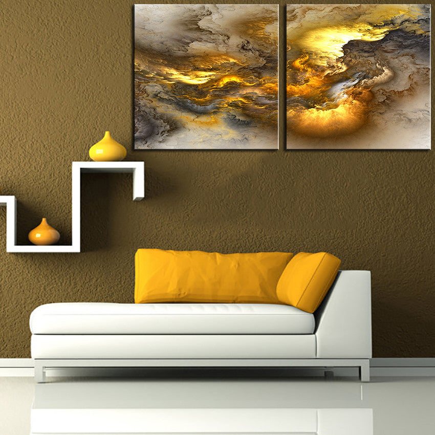 2pcs set NO FRAME Printed light Cloud Oil Painting Canvas Prints Wall Painting For Living Room Decorations wall picture art