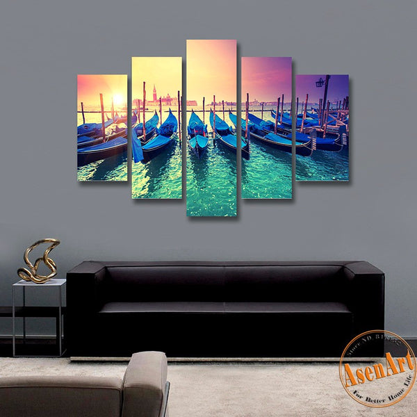 5 Piece Wall Art Yacht Harbor Boat Painting Canvas Prints Artwork Modern Home Decor Picture for Living Room Unframed