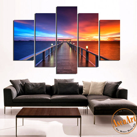 5 Pieces Modern Wall Art Canvas Printed Painting Walkway and Ocean Sunset Seascape Picture for Living Room Wall Decor Frameless