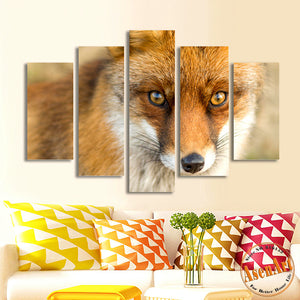 5 Panel Wall Art Canvas Prints The Eye of Wolf Picture Painting Animal Picture for Bedroom Modern Home Decor No Frame
