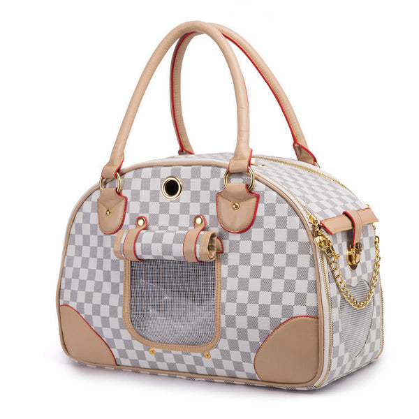 Luxury PU Leather Dog Carrier Bag Portable Dog Carrier Handbag