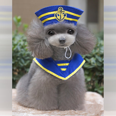 2016 Hot Sale Quality Halloween Dog Costume Party Sailor Dog Costume Navy Captain Dog Clothes Lovable Dog Clothing Free Shipping