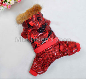 High Quality Thick Waterproof Dog Clothes Winter Jumpsuit Waterproof Warm Dog Coat Fur Hood Pet Down Jacket Chihuahua Yorkshire