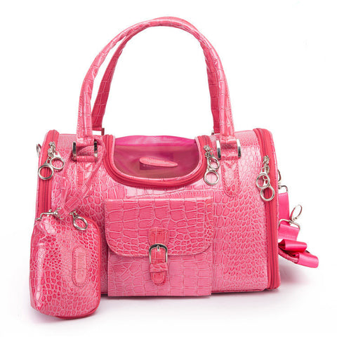 Crocodile PU Leather Dog Carrier Bag Pink Black Pet Dog Carrier