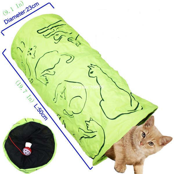 Pet Tunnel Cat Printed Green Lovely Crinkly Kitten Tunnel Toy With Ball Play Fun Toy Tunnel Rabbit Play Tunnel  Bulk Cat Toys