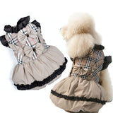 2016 Female Pet Dog Clothes Fashion Winter Princess Dog Dresses Padded Puffy Warm Girl Dog Coat Plaid Dog Jacket for Small Dogs