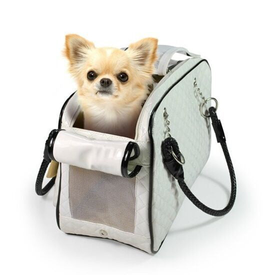Leather Dog Carrier Cat Bag Quilted Dog Carrier Mesh Dog Shoulder Bag