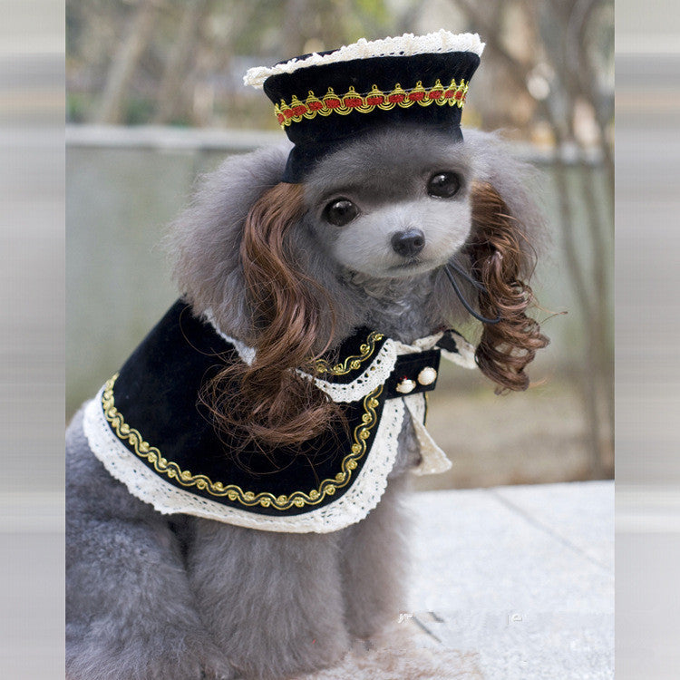 Quality Hot Sale Dog Costume Royal Princess Dog Clothes Pet Dresses Dog Trench with Curly Hair Hat Dog Party Cloth Supplies