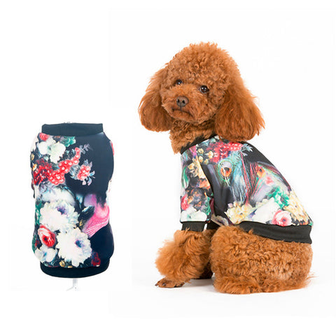 2016 Dog Clothes Spring and Autumn Vintage Printed Dog Coat Fashion Dog Puppy Jacket Breathable Spring New Dog Clothing S-XL