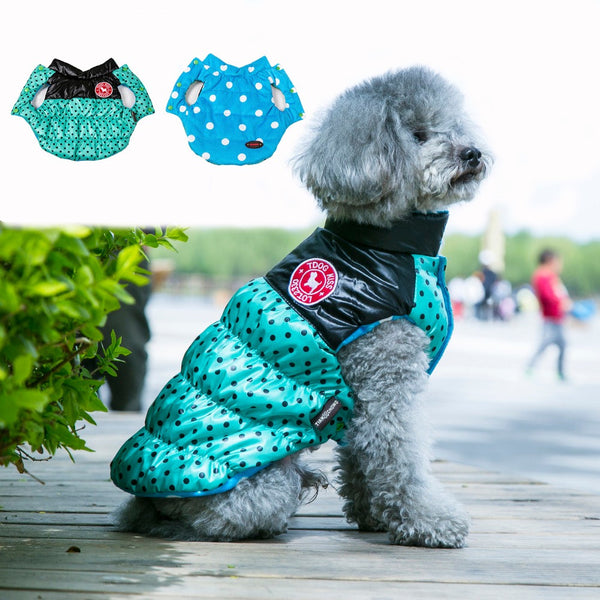 Reversible Dog Jacket Winter Warm Dog Clothes Waterproof 2016 Autumn Polka Dots Thick Vest Fleece Dog Coat for Small Dogs Cats