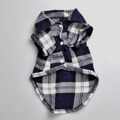 Plaids Grid Checker Shirt Lapel Costume Dog Clothes