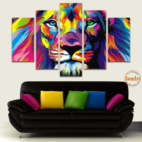 5 Panel Wall Art Canvas Prints Animal Colorful Lion Painting Canvas Wall Pictures for Living Room Modern Home Decor Unframed