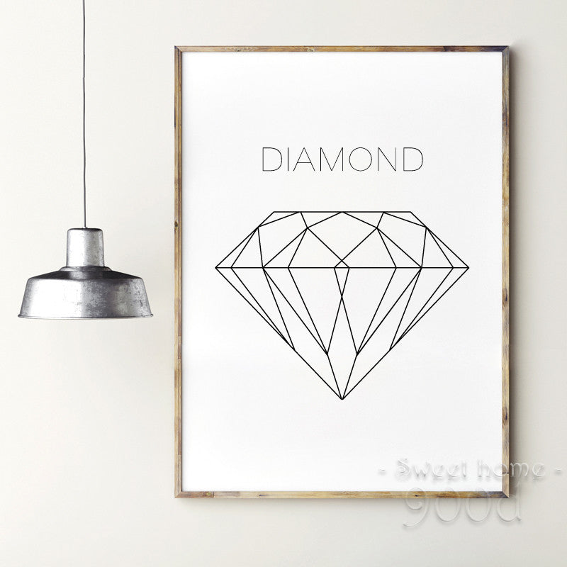 Geometric Diamond Canvas Art Print Painting Poster, Wall Pictures ...