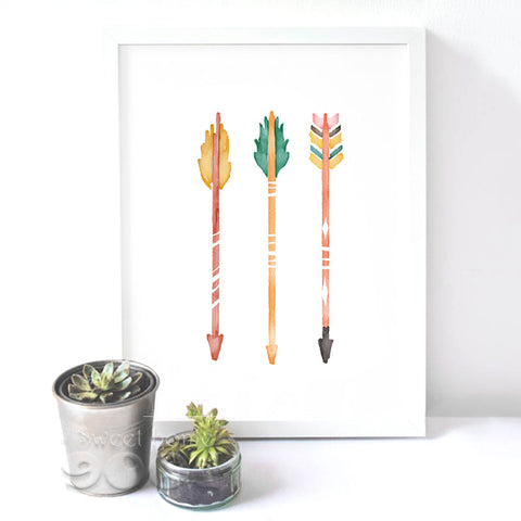 Watercolor Arrows Canvas Art Print Poster, Wall Pictures for Home Decoration, Frame not include FA238-6