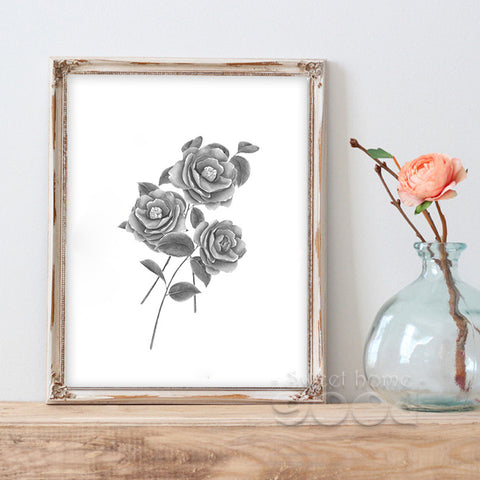 Vintage Rose Flower Canvas Art Print Painting Poster,  Wall Picture for Home Decoration,  Wall Decor CM030-1