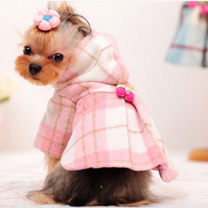 2016 Winter Dog Clothes Luxury Wool Plaid Dog Coat Pet Clothes Pink Warm Dog Jacket Small Medium Autumn Dog Clothing Free Ship