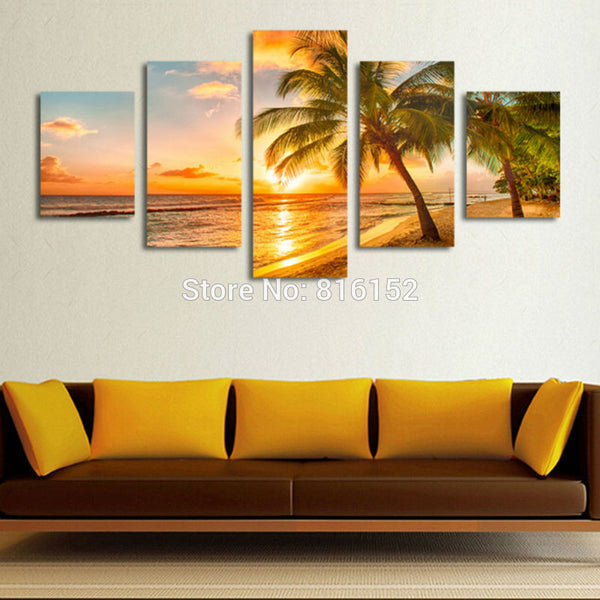 5 Piece Sunset Seascape Coconut Tree Beach Picture Oil Canvas Print Unframed Mural Art Painting for Home Living Wall Decor