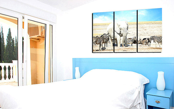 3 Pieces Picture African Wild Animal Zebra Elephant Painting Canvas Print Mural Art Home Living Office Wall Decor