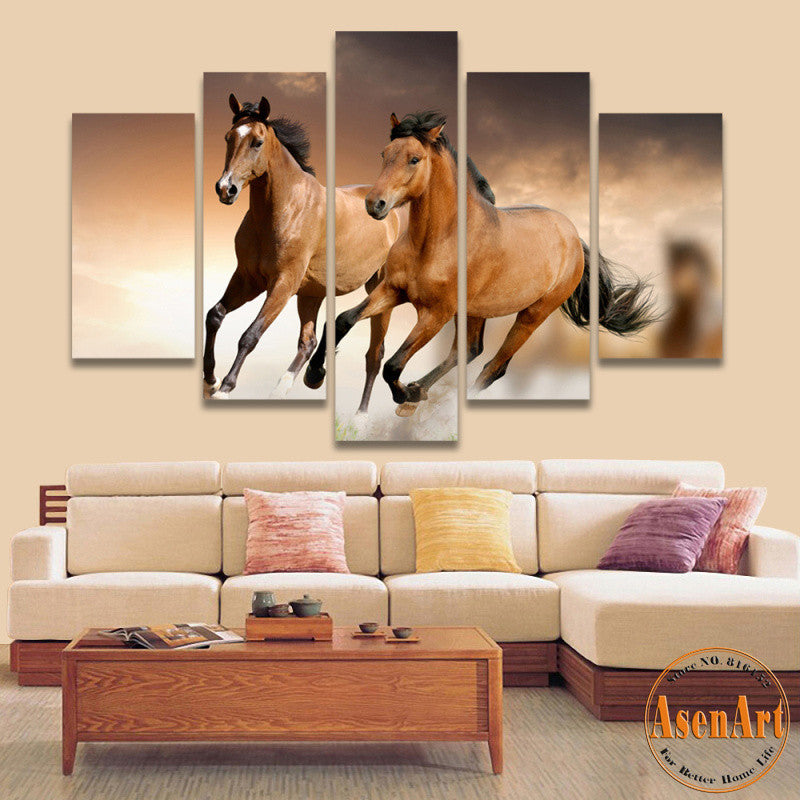 5 panel canvas art running horse painting animal painting - Home interior horse pictures for sale ...