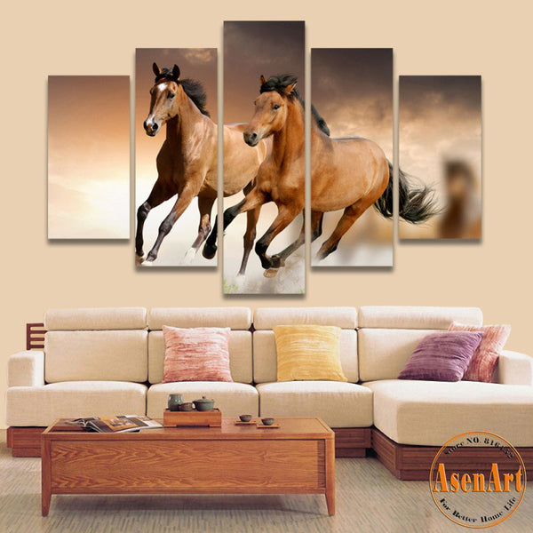 5 Panel Canvas Art Running Horse Painting Animal Painting Print On Canvas Wall Pictures for Living Room Home Decor No Frame