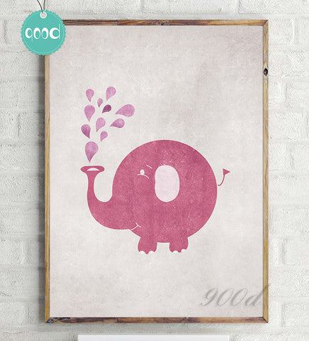 Vintage Cartoon Elephant Canvas Art Print Poster, Wall Pictures for Home Decoration, Wall Decor YE070
