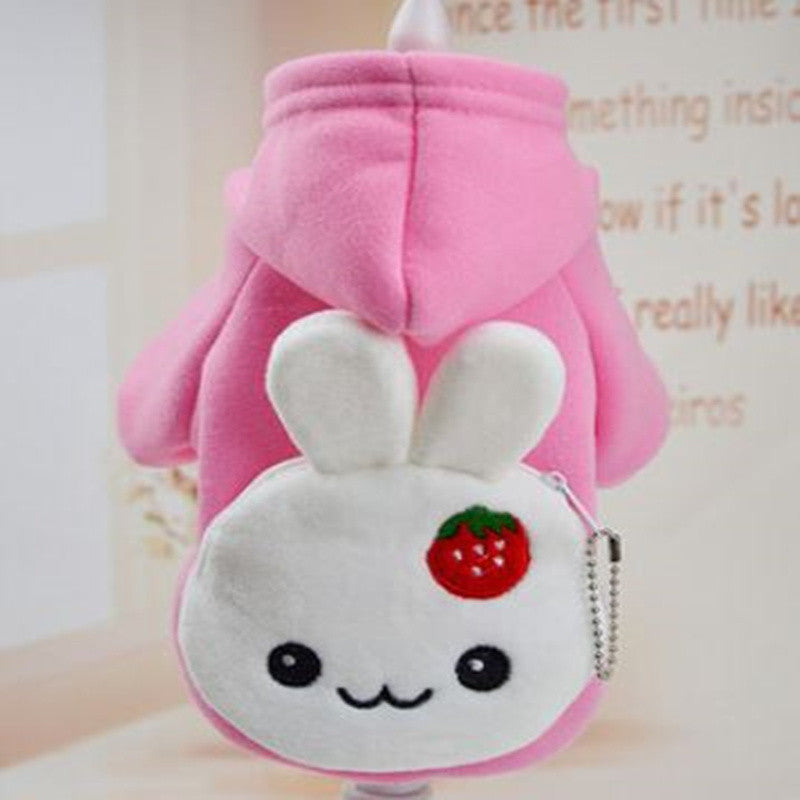 2016 New Cute Rabbit Pocket Winter Pet Dogs Clothes Soft Puppy Cat or Dog Coat Hoodie Costumes Clothing for Dog 10 Colors