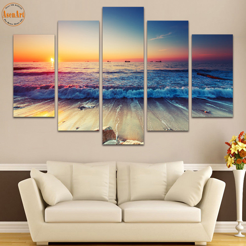5 Panel Wall Art Seaside Landscape Painting Sunset Seascape Canvas Prints  Home Decor Picture For Living