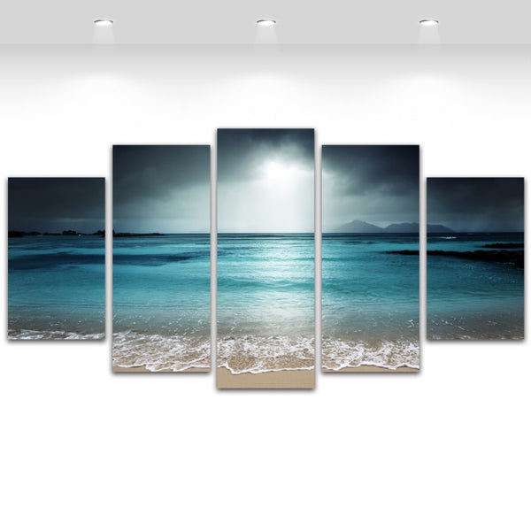 5 Panel Canvas Art Seascape Beach Canvas Prints Sky Grey Landscape Wall Murals for Living Room Modern Home Decoration Unframed