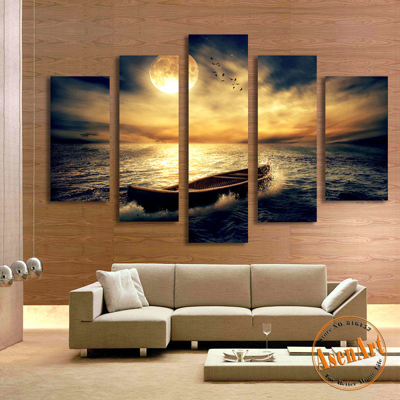 Living Room Decor Artwork: 5 Panel Sunset Seascape Painting Single Boat Picture For