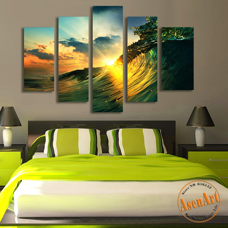 5 Panel Sunset Seascape Painting Sea Wave Picture For Bedroom Modern Home  Decor Wall Art Canvas