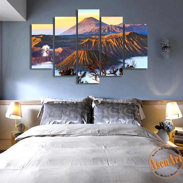 5 Piece Wall Art Volcano Painting Mountain Landscape Picture Canvas Printing Home Decoration Painting for Living Room Unframed