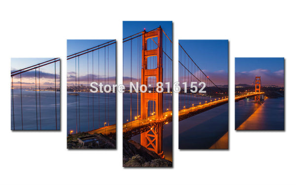 5 Panels/Set Large HD Bridge Picture Modern Landscape Canvas Printing Unframed Wall Decorative Prints for Office Home Decor