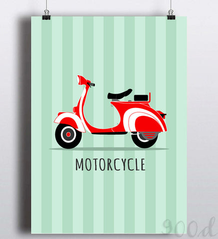 Vintage Motorcycle Canvas Art Print Painting Poster,  Wall Pictures for Wedding Decoration,  FA295