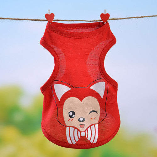 2016 Fashion Summer Sports Dog Clothes costume Chihuahua Pet Clothing Cartoon Animals Dog vests Small Dog Cat Clothes 10 Colors
