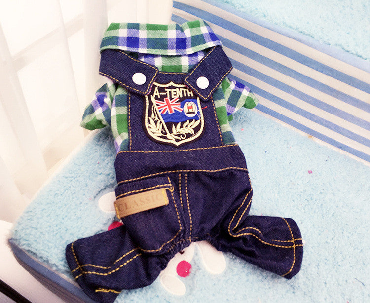 2016 New Fashion Dog Pet Plaid Jumpsuit Coat Jacket Shirt Puppy Clothes Apparel Custume Pet Corduroy Pants Dog Four Legs Cloths