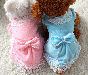 2015 New Dog Dresses Puppy Wedding Party Lace Skirt Clothes Bow Tutu Princess Dress Pet Apparel DropShipping
