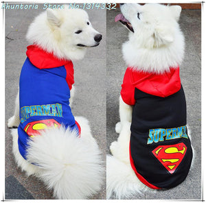 Supperman Big Dog Clothes Coat Jacket Clothing For Dogs Large Size Autumn Fall Warm Hoodie Apparel Sportswear Pet Products