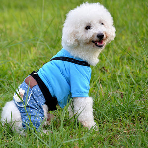 Free shipping Dog Clothes Cotton Tops With Denim Pants  Pet Strap Overalls Casual Denim Four Legs Dog jumpsuits XS-XL